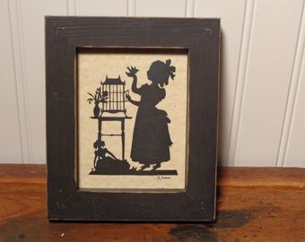 Vintage Framed Silhouette Picture - Girl with Bird Silhouette  -  16-885