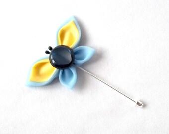 Butterfly Brooch Pin Kanzashi Boutonniere Blue and Yellow Pastel Lapel Boutonniere