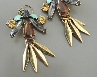 Tassel Earrings - Topaz Earrings - Gold Earrings - Smokey Quartz Earrings - Boho Earrings - Handmade Jewelry