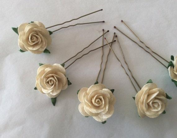 Hairpins x 5 Paper Roses. Cream. Bridal, Regency, Victorian.