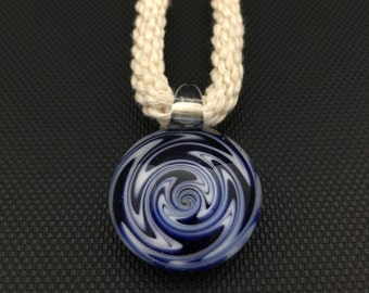 Glass Pendant // Cobalt & White Switchback // Macrame Necklace