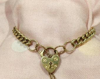 Blowout Sale.  Antique 9k Solid Gold Padlock Bracelet Heart Charm 13.9g. Heirloom. Excellent Vintage condition.