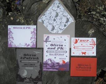 Moonlit Mountain Letterpress Wedding Invitation Suite