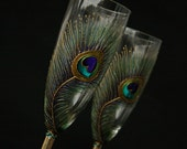 Wedding Set Peacock Feathers Wedding Toasting Champagne Flutes, Hand Painted,set of 2