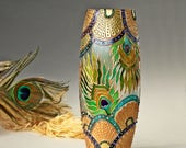 Peacock Vase, Glass Vase, Painted Vase, Glass Vase, Hand Painted