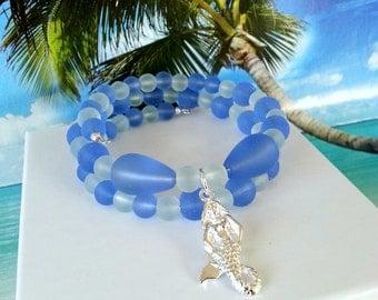 Cornflower blue and seafoam mermaid charm seaglass beads memory wire wrap beach bracelet