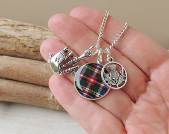 Scotland Charm Necklace, Tartan Bagpipes Thistle Charm Necklace, Scotland Jewellery, Charm Jewellery, UK, 660b