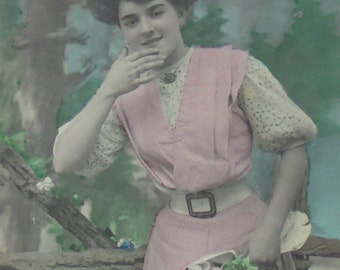 French Antique Postcard - Woman Holding Flowers