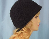 Black Cloche Hat with Flower - Hand Crocheted - Super Soft Acrylic Yarn - Handmade - Size Medium - Ladies Hat - Great Christmas Gift!