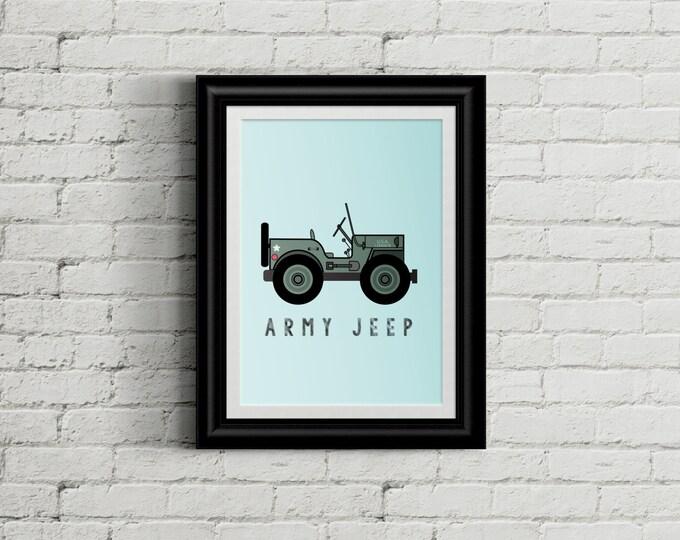 Army Jeep Kid's Bedroom Wall Art - Military Boys Room Decor - Military Jeep Room Decor - Camo Nursery Decor