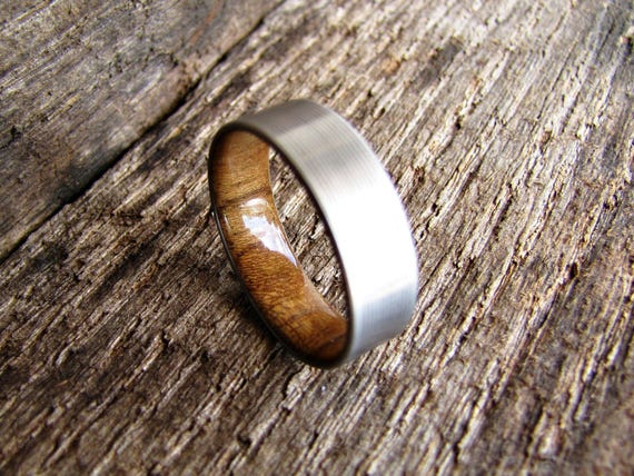 Duality Teak Titanium And Teak Inlay Ring Mens Wood
