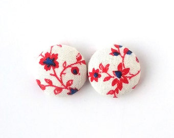 Tiny bright earrings - white stud earrings - white fabric earrings - covered button - blue red floral - birthday gift