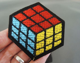 Rubik's Cube Patches - Iron on Patch or Sewing Patch Rubik Cube Magic Cube Patches Red Blue Yellow Cube Embellishments Embroidery Patch