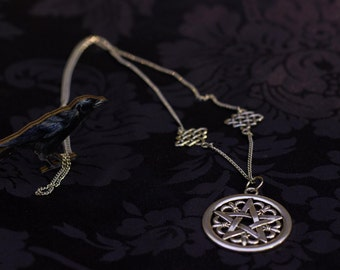 Witch Pentacle Necklace Celtic Pentagram pendant nature wicca silver pagan jewelry