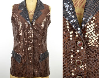 70s 80s LONG SEQUIN WAISTCOAT copper black vest jacket disco vintage 10 12 14 M Medium sequinned sparkly top