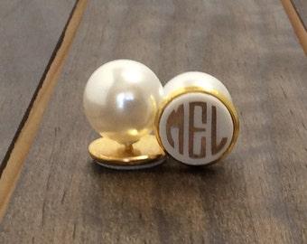 Monogrammed Earrings- Monogrammed Pearl Back Earrings - Monogrammed Acrylic Earrings - Round Acrylic Earrings