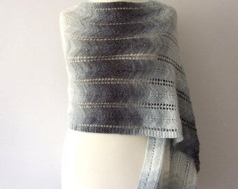 shimmering winter scarf, black white grey shawl with metallic thread, wide long and soft, handknitted, warm and cozy wrap