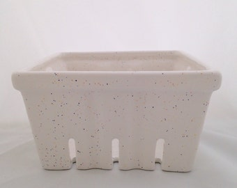 White Speckled Ceramic Berry Basket -  Berry Bowl Container