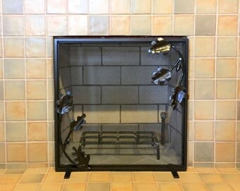 Made to Fit Your Fireplace Hand Forged Iron Acorn Inspired Firescreen by VinTin