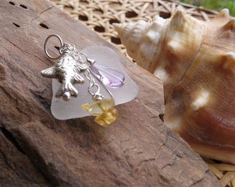 sea glass pendant . WHIDBEY SALMON . white pendant, found sea glass, PISCES pendant, fish pendant, beach pendant, one of a kind, amethyst