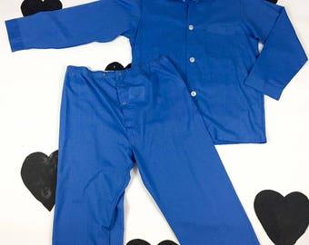 60's 70's classic Men's matching PJ pajama set / TownCraft / Blue two piece lounge sleep shirt pants set / Man's / Dad / Playboy / size M