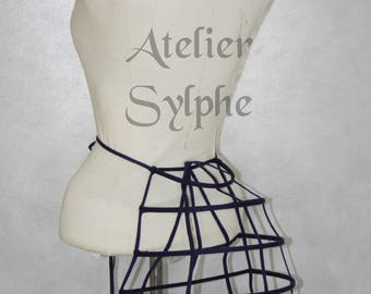 One dark blue ribbon and lacing Crinoline hoop back long bustle cage pannier