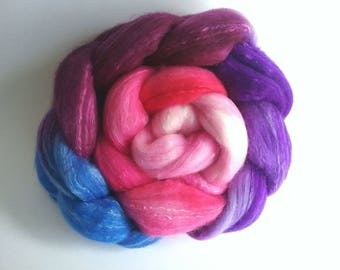 African Violets Organically farmed Merino/Mulberry Silk combed tops for spinning