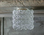 Vintage Quilted Square Glass Light Shade / Globe / Light Cover / Square Flower Vase