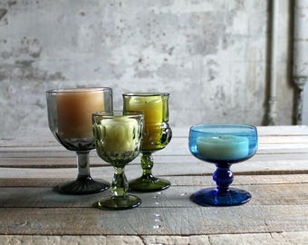 4 Vintage Jewel Toned Glass Candleholders / Vases