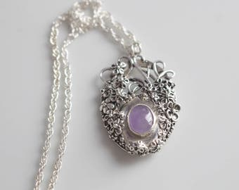 Flower Pendant Necklace  Purple Chalcedony Necklace in Fine Silver / Detailed Botanical Pendant / Gift for Wife Purple Stone Unique Necklace