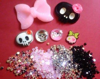 Kawaii decoden cabochon deco diy pink bow and skull kit  C 8--USA seller