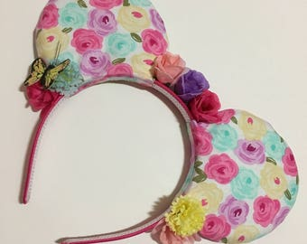 Flower Spring Mouse Ears with Bow - Mad Ears - IN STOCK