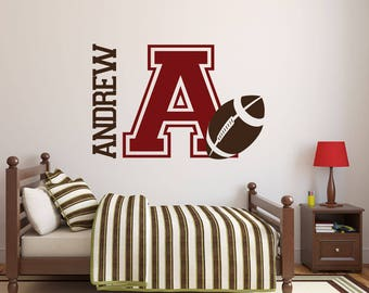 football wall decal name decal name stickers name wall decal custom decals boys room decor wall decals wall stickers - Design Stickers For Walls