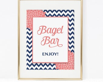Bagel Bar Sign, Navy and Coral Mums, Bridal, Baby Shower Sign, 2 Sizes, DIY Printable, INSTANT DOWNLOAD