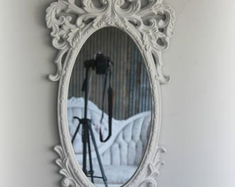 B A R O Q U E, Hollywood White Mirror, South Beach, Regency, Florida,  Mirror, Fancy Mirror, Oval Mirror