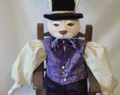 OOAK Purple Rabbit art doll, Easter bunny rabbit all hand made male rabbit