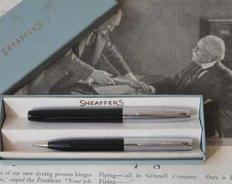 Vintage Vintage Sheaffer's Skripsert School Pen Set - Black with Chrome Caps Vintage Sheaffer's Pen and Pencil Set Vintage Sheaffer's Pen