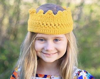 Yellow Crown- Princess Crown-Prince Crown - Princess Crown Headband- Gold Outfit- Birthday Crown- Photo Prop- Crochet Headband- Birthday