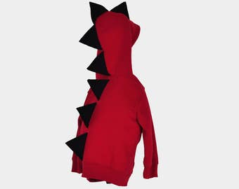 Red Dinosaur Hoodie - With Black Spikes - Sizes 18 Months Through 4T Available