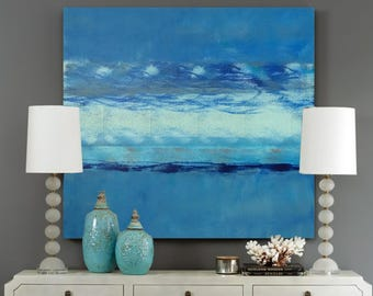 HANG TEN original abstract painting by Linnea Heide 36x36 acrylic on canvas blue waves - surf surfer - coastal decor - beach - summer - wavy
