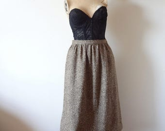 Vintage 1970s Tweed A-line Skirt