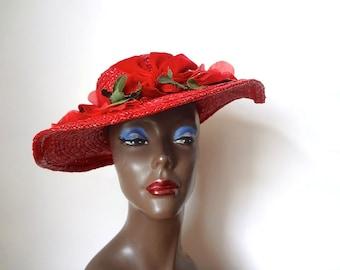 1950s Straw Hat - vintage wide brim red formal hat with poppy flowers