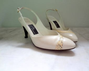 1970s Sling-Back High Heels - vintage ivory leather and snake skin pointy toe pumps size 6.5B