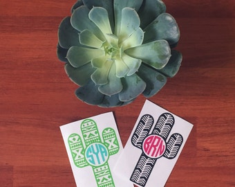 Cactus Decal | Yeti Decal | Aztec Decal| Cactus Monogram Decal | Cactus Laptop Decal | Water Bottle Decal | Bible Decal | Car Decal