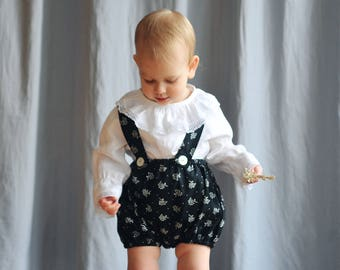 Baby / Toddler Girls Cotton Bloomers Floral Print BlackandWhite Shorts Pantaloons Vintage Retro Style 0-3-6-9-12-18-24 months 2T 3T 4T 5T 6