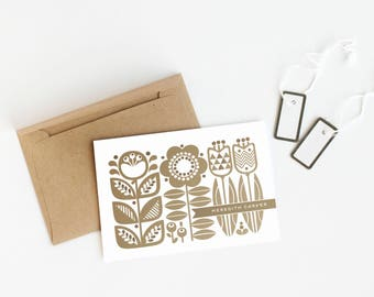 Scandinavian Style Stationery, Set of 12 Personalized Note Cards // DANISH GARDEN