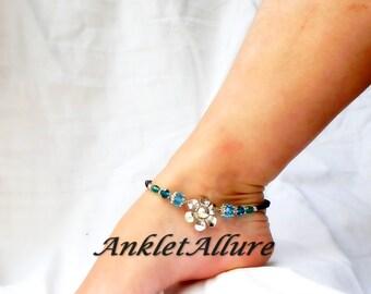 Silver Anklet Flower Ankle Bracelet Aqua Black Anklet Body Jewelry Foot Jewerly Beach Resort