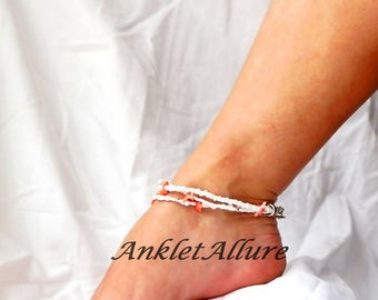 Triple Beach Anklet Orange Coral Ankle Bracelet Resort Body Jewerly Cruise Jewerly Pedicure Accessory