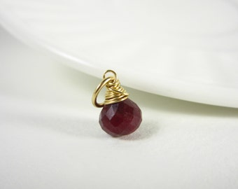 Sm - Natural Ruby Gemstone Jewelry - Genuine Ruby Pendant - 14k Gold Charms - Born in July Birthstone Jewelry - Wire Wrap Gemstone Charms