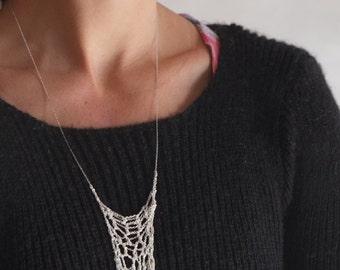 Silver Web - Etherial Crochet Fiber Art Necklace - Modern Tribal